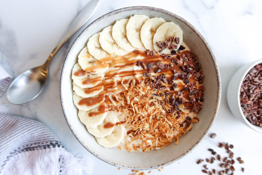 Peanut Butter, Chocolate & Banana Greek Yogurt Breakfast Bowl
