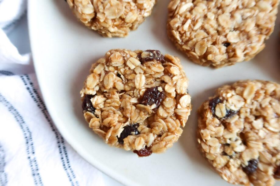 Vegan Oatmeal Raisin Breakfast Cookies close up