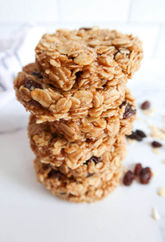 Stack of Vegan Oatmeal Raisin Breakfast Cookies